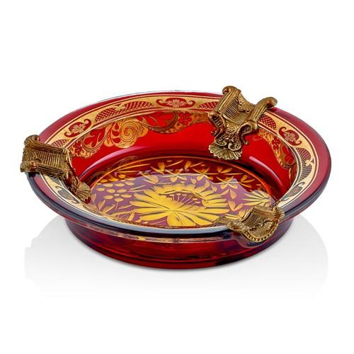 Cemile Kırmızı Kesme Camlı Altın Desenli Küllük