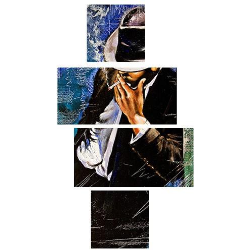 Tictac Design 4 Parça Kanvas Tablo Adam