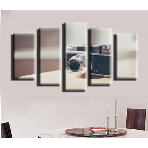 K Dekorasyon Klasik Fotoğraf Makinesi 5 Parçalı Mdf Tablo KM5P1437