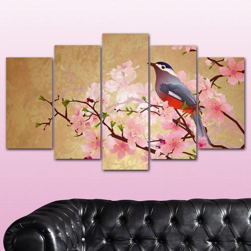 K Dekorasyon İlkbahar Ağacı ve Kuş 5 Parçalı Mdf Tablo KM-5P 2326