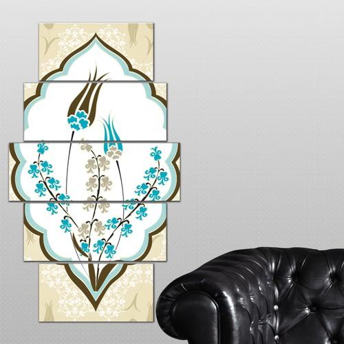 K Dekorasyon Osmanlı Lale Motifleri 5 Parçalı Mdf Tablo KM-5P 2479