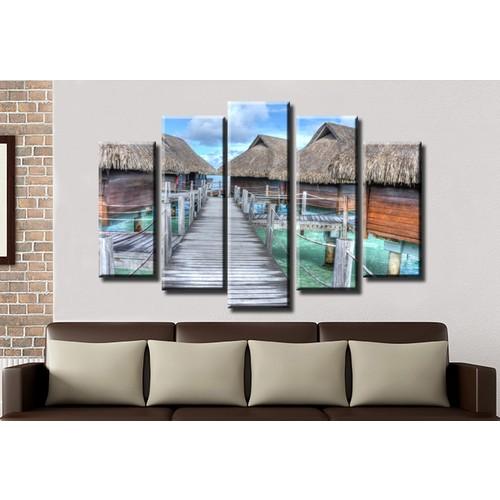 K Dekorasyon Bambu Evleri 5 Parçalı Mdf Tablo KM5P1138