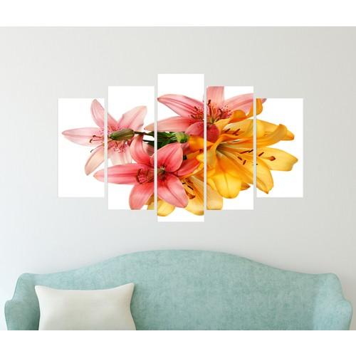 K Dekorasyon Çiçek 5 Parçalı Mdf Tablo KM5P1907
