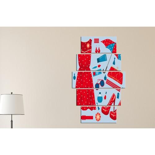 K Dekorasyon Kırmızı Aksesuarlar 5 Parçalı Mdf Tablo KM-5P 2219