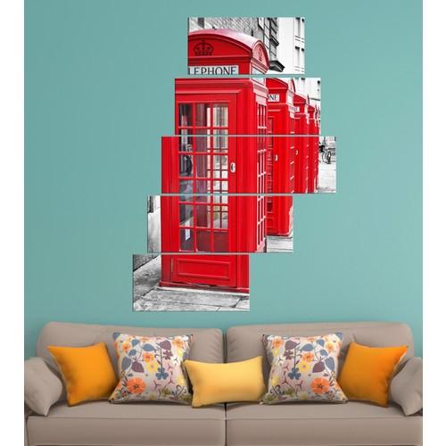 K Dekorasyon Klasik Telefon Kulübesi 5 Parçalı Merdiven Mdf Tablo 1217