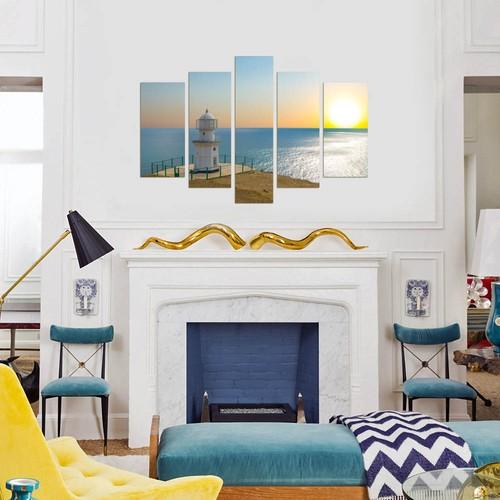 Dekorjinal Deniz Feneri 5 Parçalı Dekoratif Tablo D5TP139