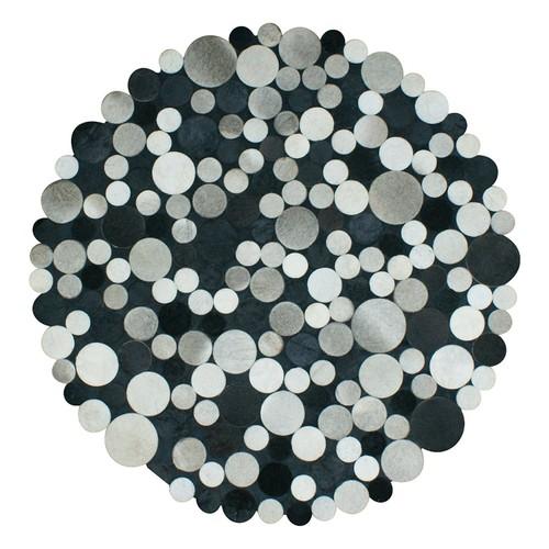Tappeto Exclusive Deri Patchwork Multi Siyah Halı - 100x100 cm