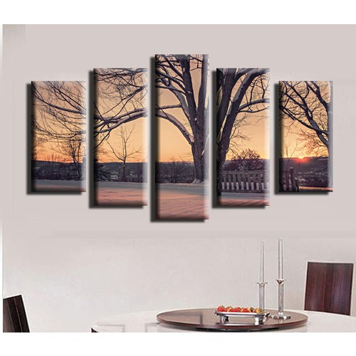 K Dekorasyon Ağaç ve Kar 5 Parçalı Mdf Tablo KM5P1488