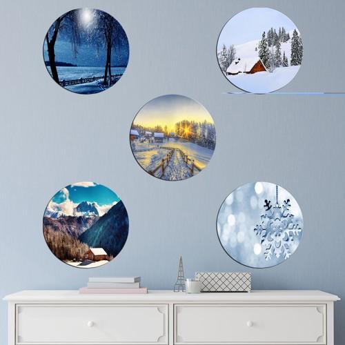 K Dekorasyon Kış ve Kar 5 Parçalı Mdf Tablo KM-2290