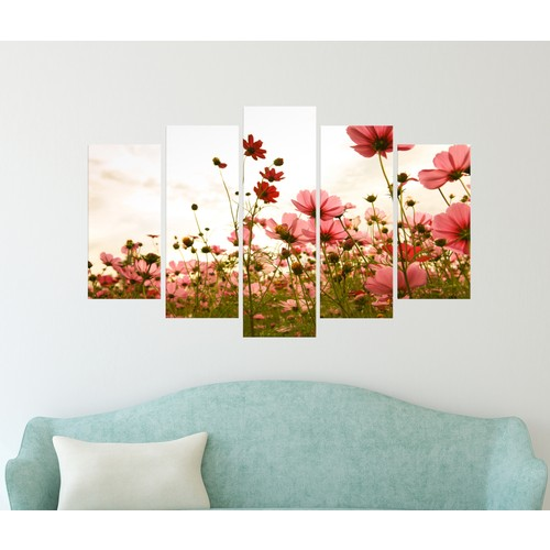 K Dekorasyon Kır Çiçekleri 5 Parçalı Mdf Tablo KM5P1848