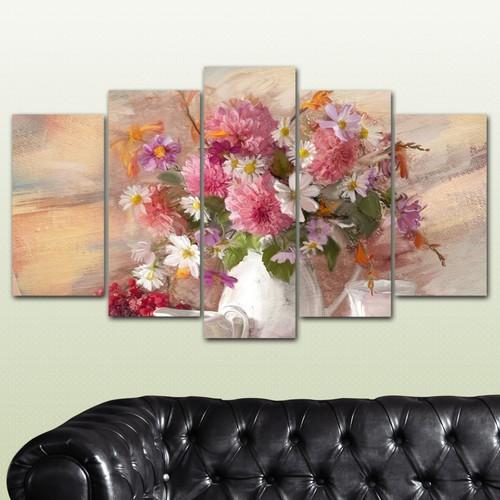 K Dekorasyon Çiçekler 5 Parçalı Mdf Tablo KM-5P 2397