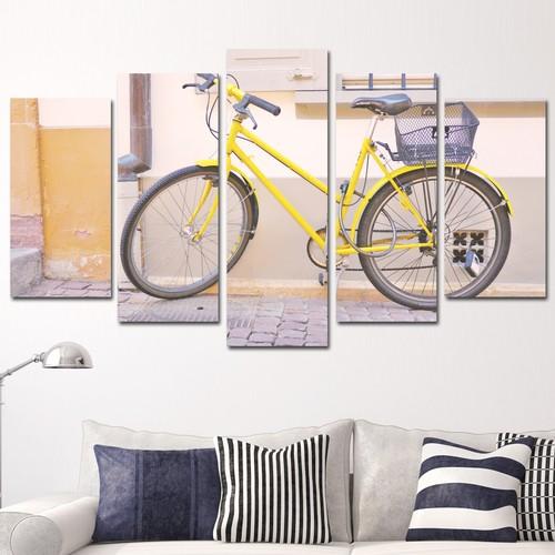 K Dekorasyon Sarı Bisiklet 5 Parçalı Mdf Tablo KM5P1548