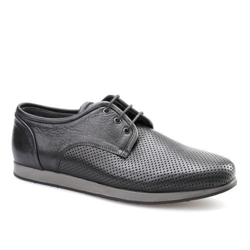 Cabani Lazerli Günlük Erkek Ayakkabı Siyah Kırma Deri