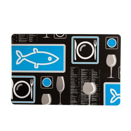 Bosphorus Balık Desenli Plastik Tekli Amerikan Servis 43,5X28X0,04Cm