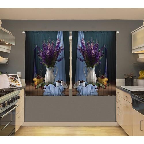 Orange Venue Orange Venue Vazo ve Kumaşlar Desenli Çift Kanatlı 3D Baskılı Fon Perde | 145x180 cm