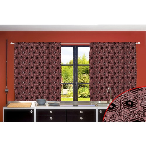 Orange Venue Orange Venue Pembe Siyah Dantel Desenli Çift Kanatlı 3D Baskılı Fon Perde | 145x210 cm