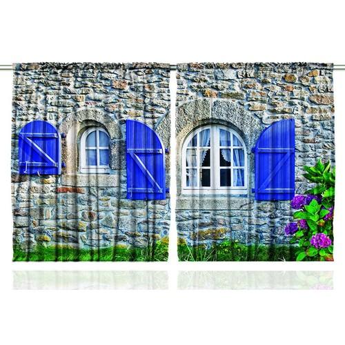 Orange Venue Orange Venue Mavi Panjurlu Ev Desenli Çift Kanatlı 3D Baskılı Fon Perde | 145x180 cm