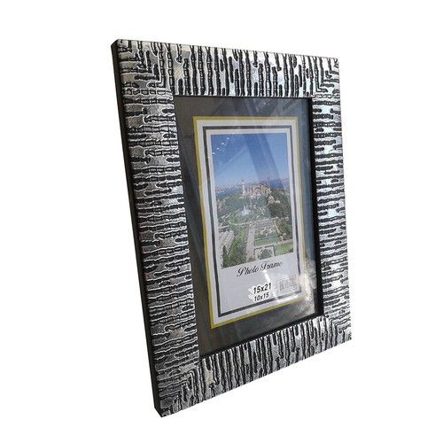 M3Decorium Gümüş Desenli Camlı Çerçeve