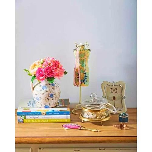 Evlina Home Mavi Beyaz Çiçekli Toprak Vazo