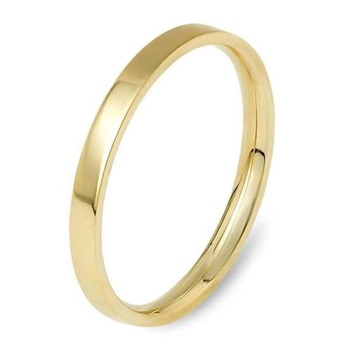 Bilezikhane Alyans 14 Ayar Altın Yüzük Köşeli Dar Sarı 3,00 Gram