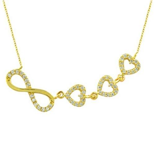 Bilezikhane Kolye Sonsuzluk ve Kalpler 2,97 Gram 14 Ayar Altın