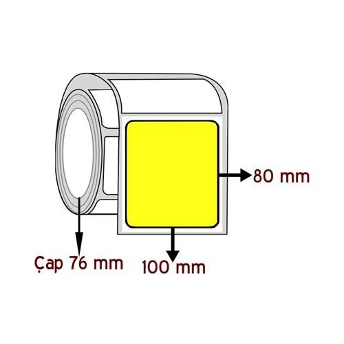 Sarı Renkli 80 Mm X 100 Mm Barkod Etiketi Çap 76 Mm ( 6 Rulo )