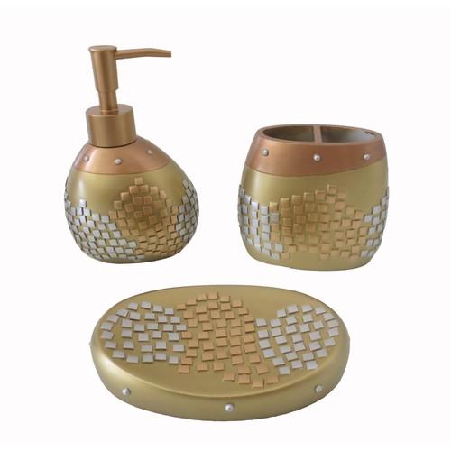 Bosphorus Altın Mozaik Poliresin Banyo Seti