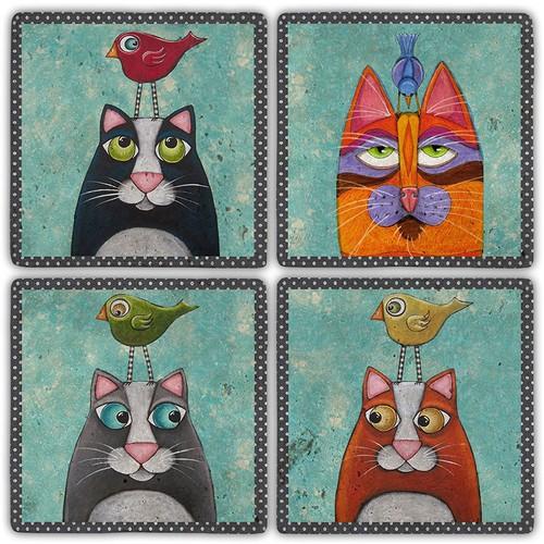 Oscar Stone Dream Of Cats Bardak Altlığı