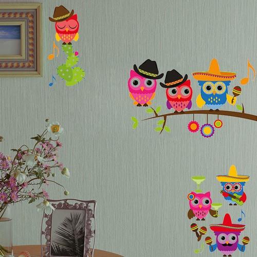 Dekorjinal Sevimli Baykuşlar Duvar Sticker Cst012