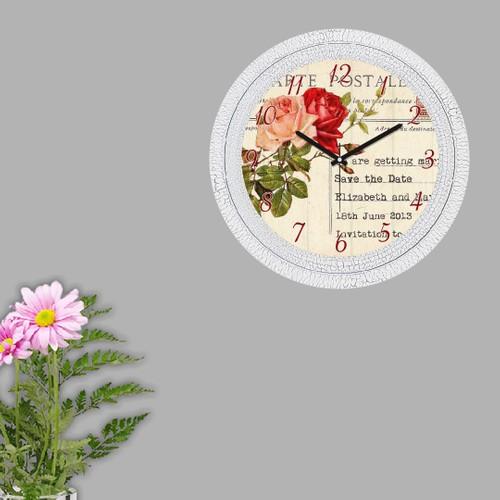 Cadran Dekoratif Vintage Çatlak Desen Duvar Saati Post Card Güller 178