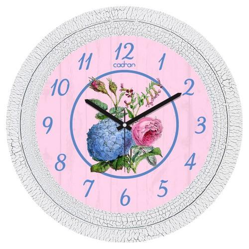 Cadran Dekoratif Vintage Duvar Saati Çatlak Desen Mavi Çiçek 1108-49
