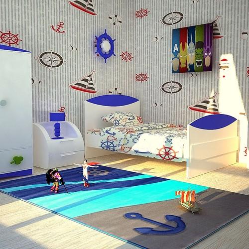 Poypoy Poypoy Çapa Dalga Gri Çocuk Halısı 133 x 190 cm