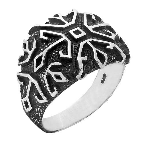 Chavin Dörtlü Çapa Antik Gümüş Erkek Yüzük ca60