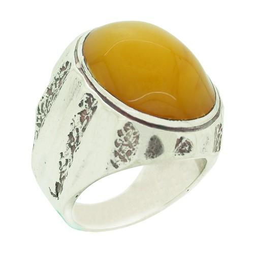 Chavin Kehribar Gümüş Erkek Yüzük cp31