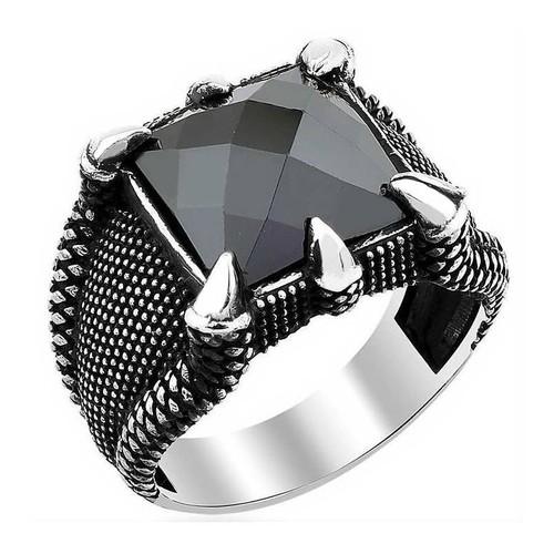 Chavin Diriliş Kartal Pençesi Siyah Taş Gümüş Erkek Yüzük df89