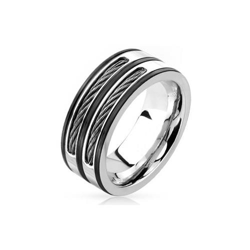 Chavin Çift Renk Çelik Halat Dizayn Erkek Çelik Yüzük dc50