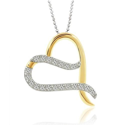 Chavin Altın Kaplama Zirkon Taşlı Gümüş Kalp Kolye cd96