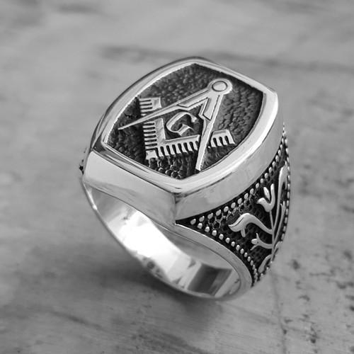Chavin Mason Yüzüğü Gümüş Erkek Yüzük de77