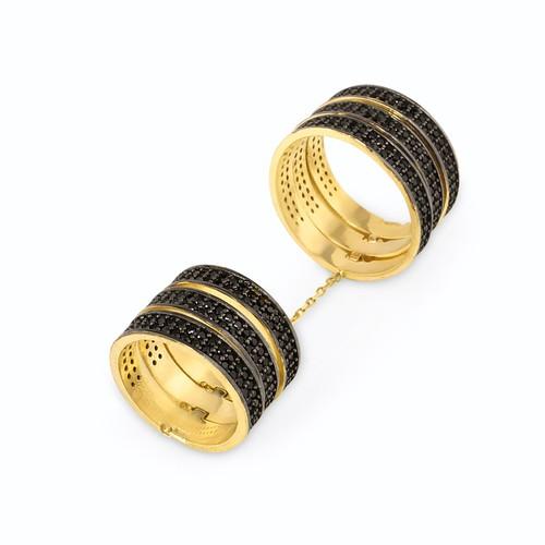 Chavin Altın Kaplama 6 Sıra Zincirli Siyah Taşlı Gümüş Yüzük cp87