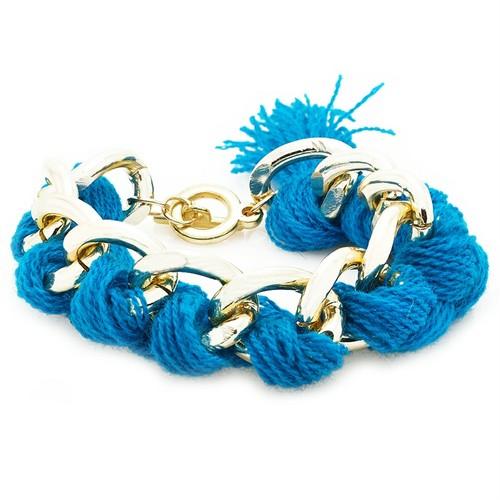 Bee One Kalın Zincirli Mavi İpli Bijoux Bayan Bileklik by41mv