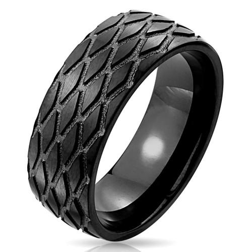 Chavin Mat Siyah Lazer İşleme Erkek Çelik Yüzük dc48
