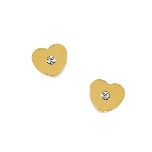 Chavin Altın Kaplama Zirkon Taşlı Kalp Çelik Küpe bz13