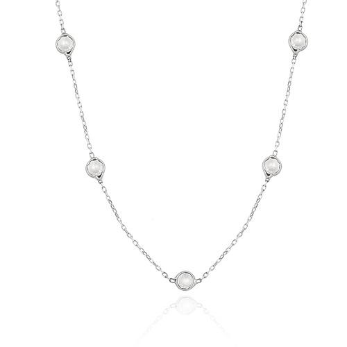 Chavin Tiffany Sıra Taşlı Uzun Zincir Gümüş Kolye db73