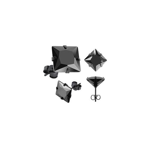 Chavin Bayan-Erkek Kare Siyah 3mm Taşlı Çelik Küpe cm25