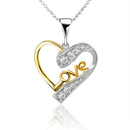 Chavin Love Yazılı Altın Kaplama Gümüş Kalp Kolye cd98