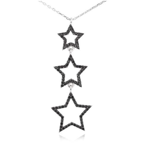 Chavin Siyah Taşlı 3'lü Yıldız Gümüş Bayan Kolye cu49
