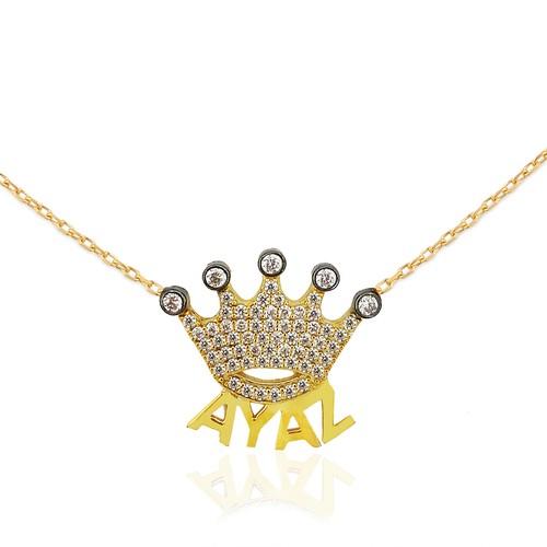 Chavin Gümüş Üzeri Rose, İsminize Özel İsim Kral Tacı Kolye ce98