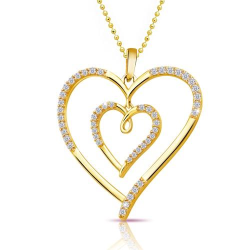 Chavin Kalp İçinde Kalp Altın Kap.Taşlı Gümüş Kolye cc97