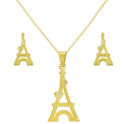 Chavin Paris Altın Kaplama Çelik Kolye Küpe Seti cg14