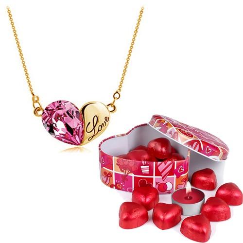 Bee One Taşlı Love Kalp Bijoux Kolye ve Çikolatalar bf65pm